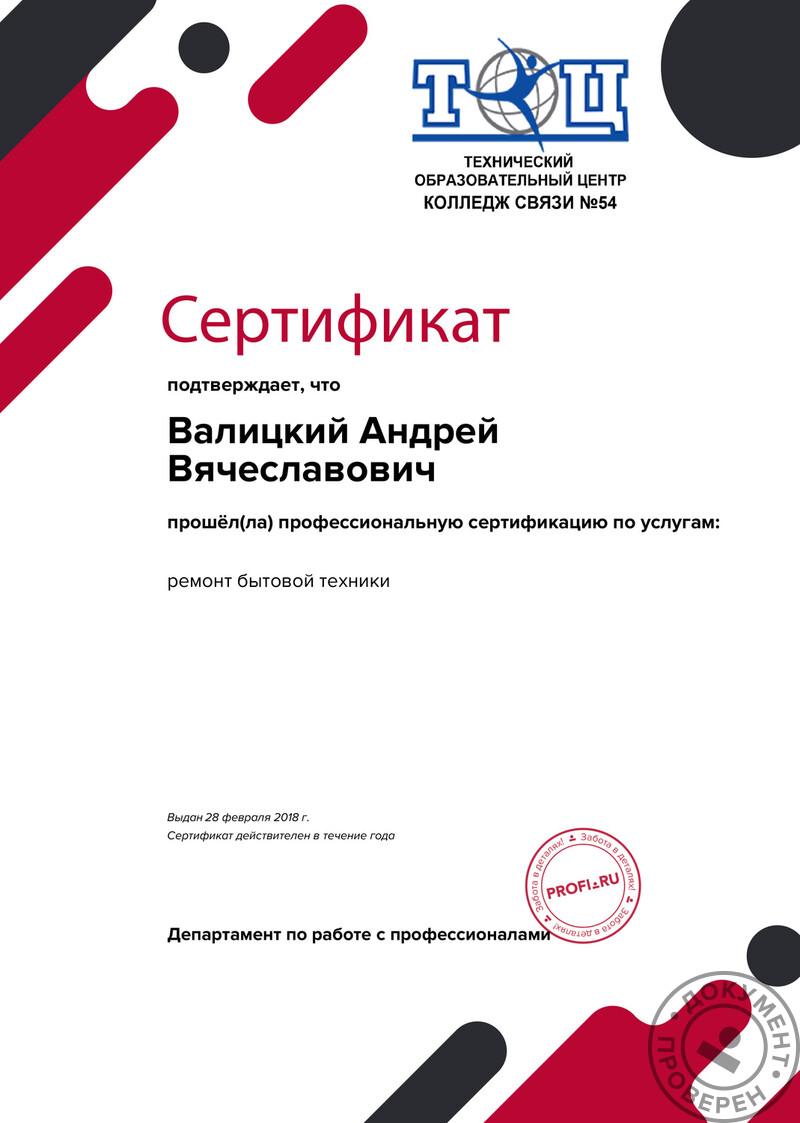 Валицкий Андрей Вячеславович (Мастер. Москва): Сертификат оценки квалификации
